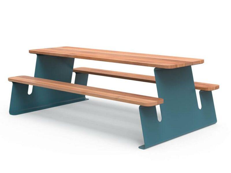 Wave mesa exterior metálica en acero y madera YTER