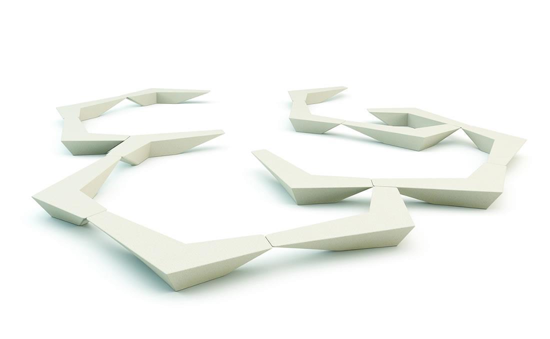 Banco Arrow de hormigón prefabricado modular geométrico