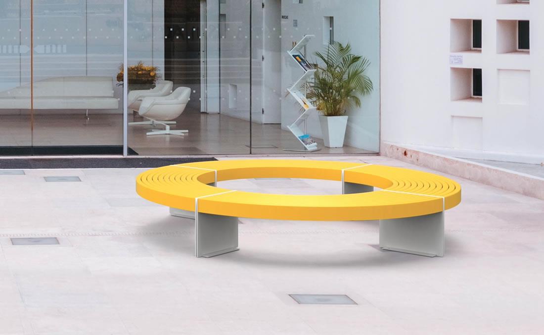 Banco metálico urbano circular