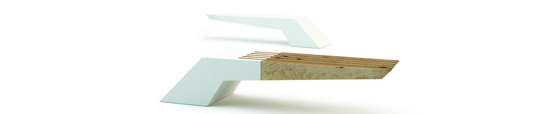 Banco de hormigón y madera diseño actual.
