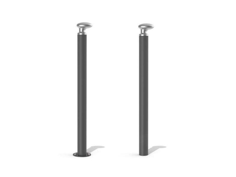 Bolardo pilona Bitta con cabezal tipo norai en aluminio y negro