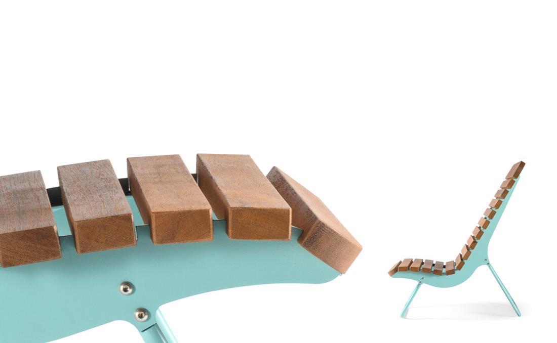 Detalle tumbona chaise longue exterior mobiliario urbano YTER