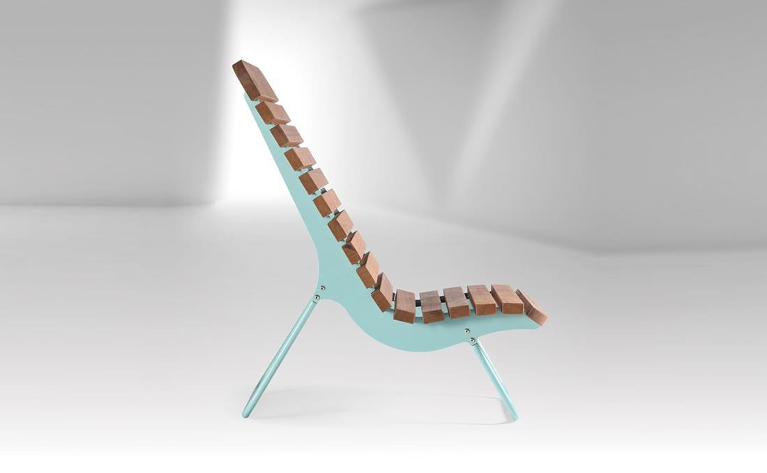 Tumbona azul exterior mobiliario urbano YTER