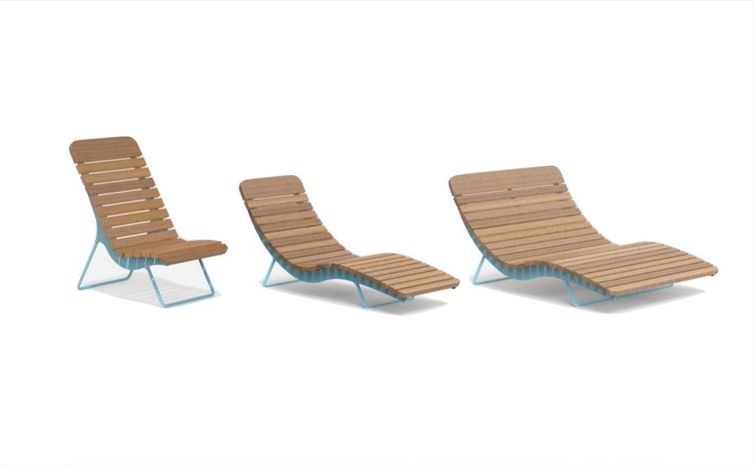 Conjunto tumbona chaise longue exterior mobiliario urbano YTER