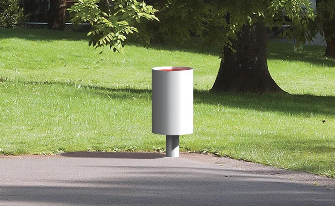 Papelera urbana cilíndrica reciclaje de residuos empotrada