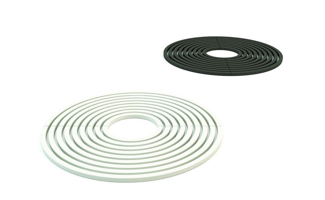 Circle alcorque circular hormigon UHPC. Imagen 3D blanco y negro