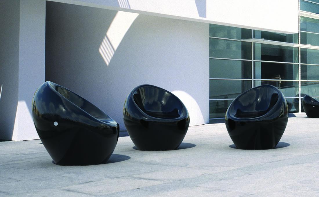 Asiento banco de hormigón horgánico pintado negro