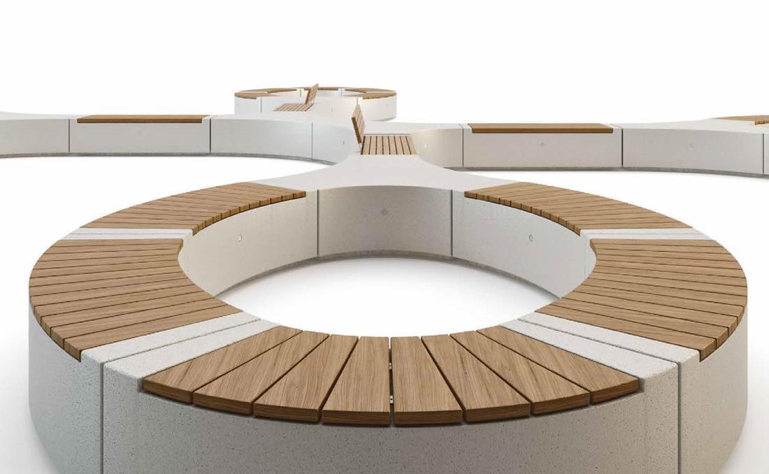 Demetra banco hormigon y madera recto y curvo modular combinación