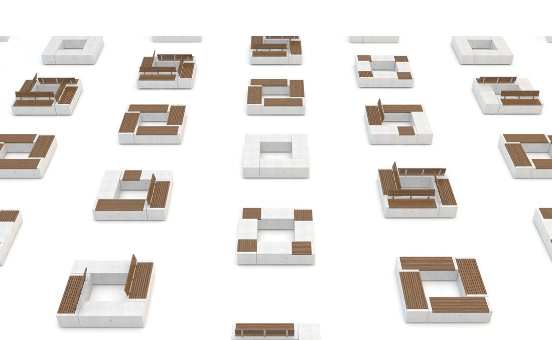 Demetra banco hormigon y madera recto y modular combinación