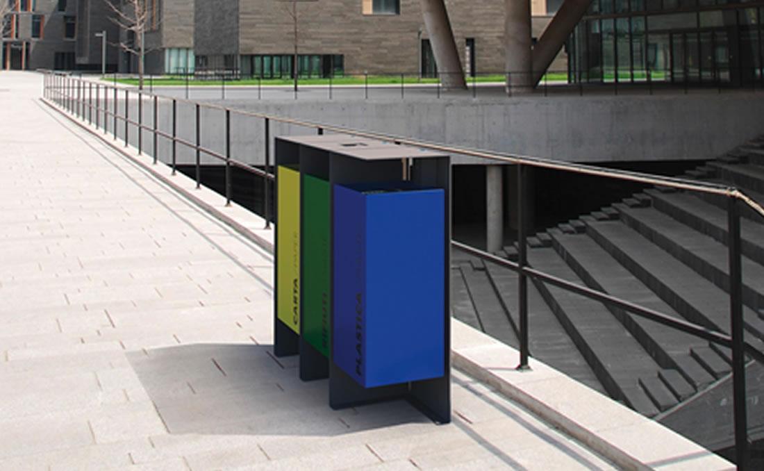 Papelera selección residuos reciclaje 3 facciones modular