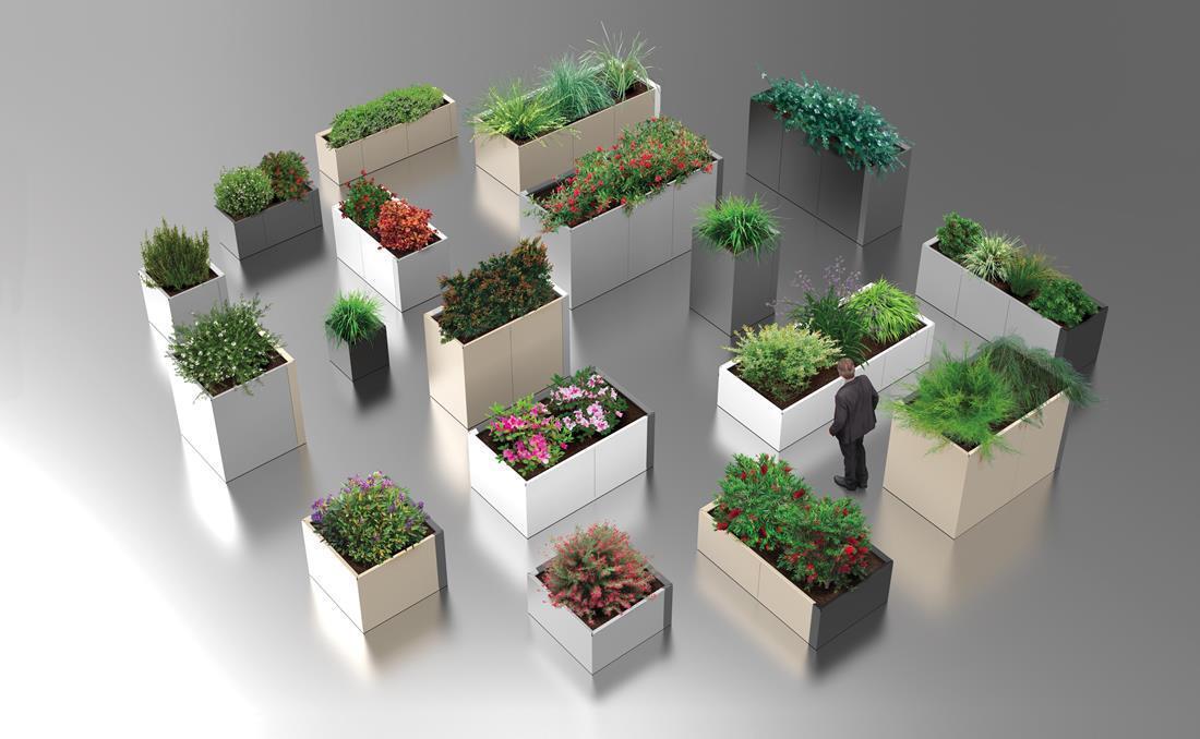 Jardineras exterior urbanas DUO metálicas de acero. Varias medidas