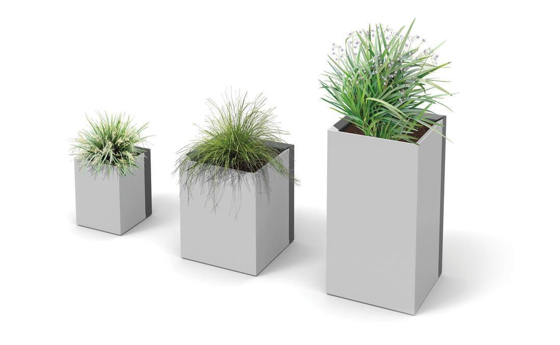 Jardineras exterior urbanas DUO metálicas de acero. 3D