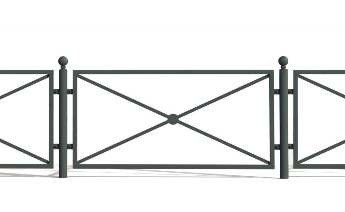 Epoca es una valla barandilla urbana de diseño clásico 3D