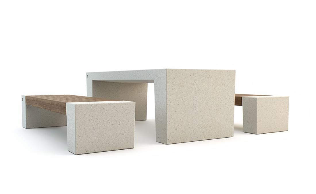 Mesa exterior urbana de hormigón para mobiliario urbano