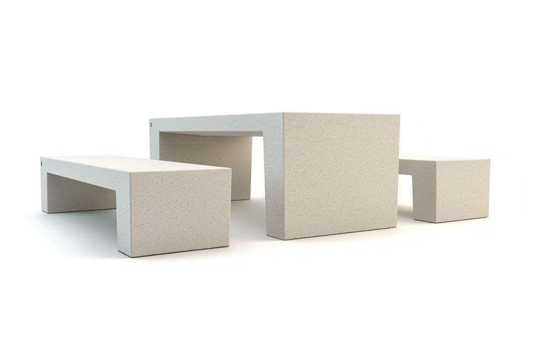 Mesa exterior urbana de hormigón para mobiliario urbano blanca