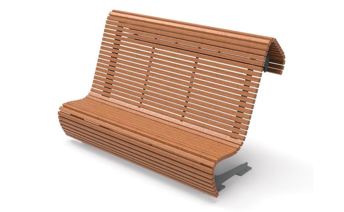 Banco exterior en listones de madera y respaldo alto