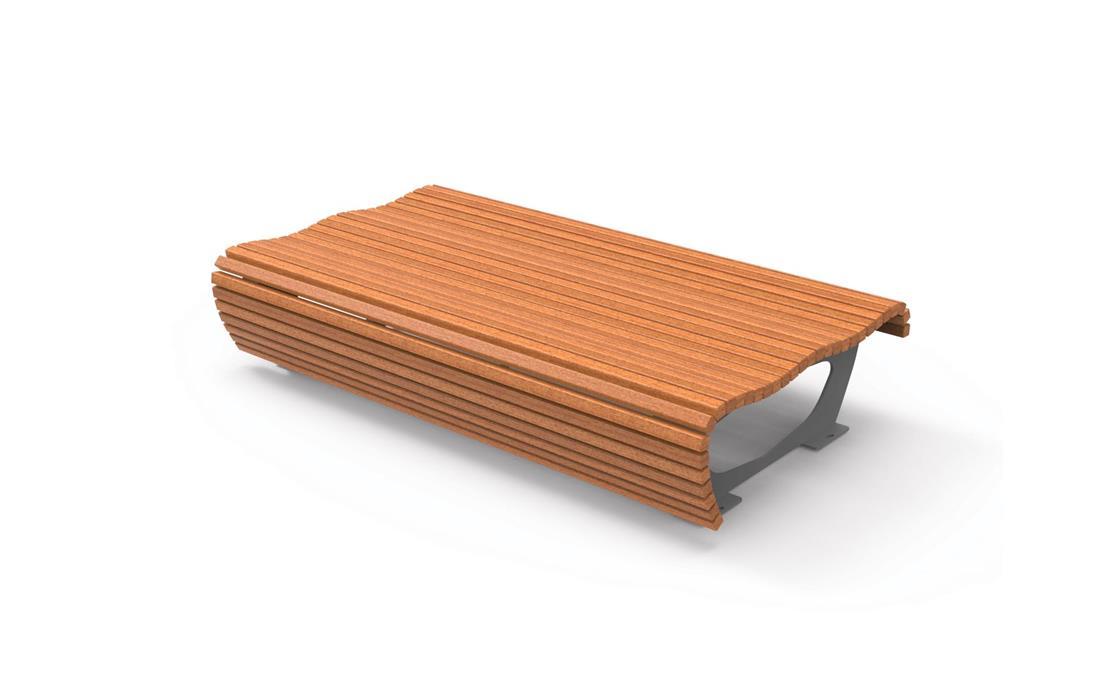 Banca sin respaldo en listones de madera