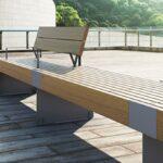 Banco urbano metálico de acero y madera tropical