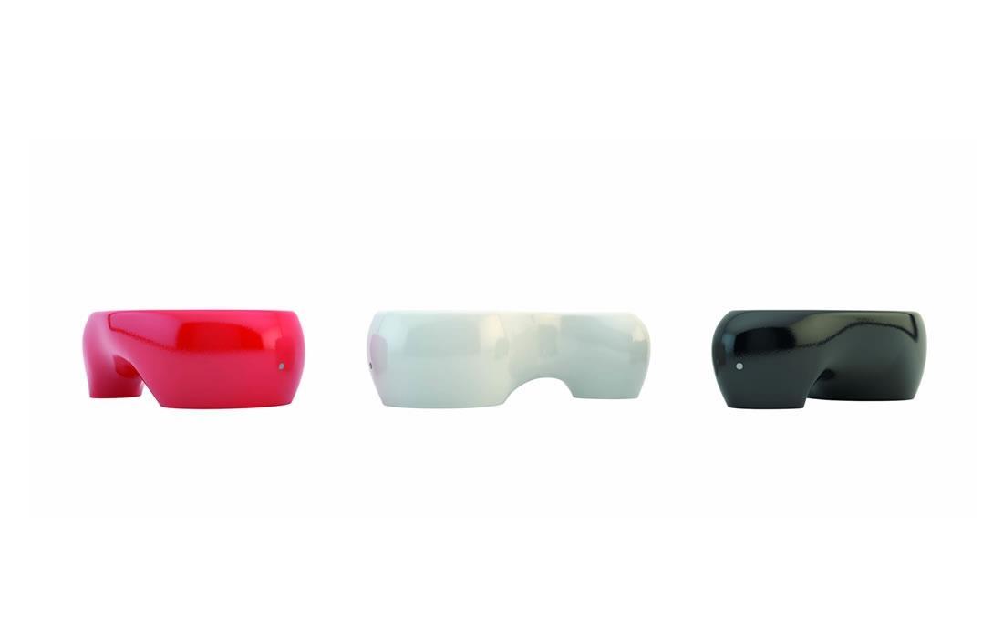 Funny banco de hormigón prefabricado diseño orgánico colores blanco, rojo y negro