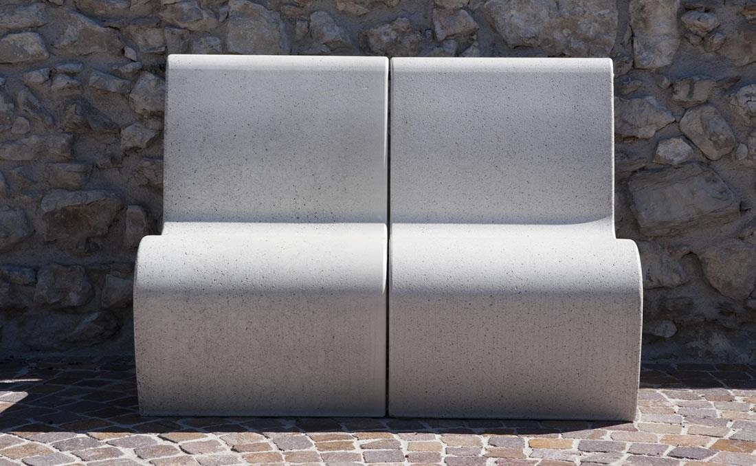 Banco asiento de hormigón Gea blanco
