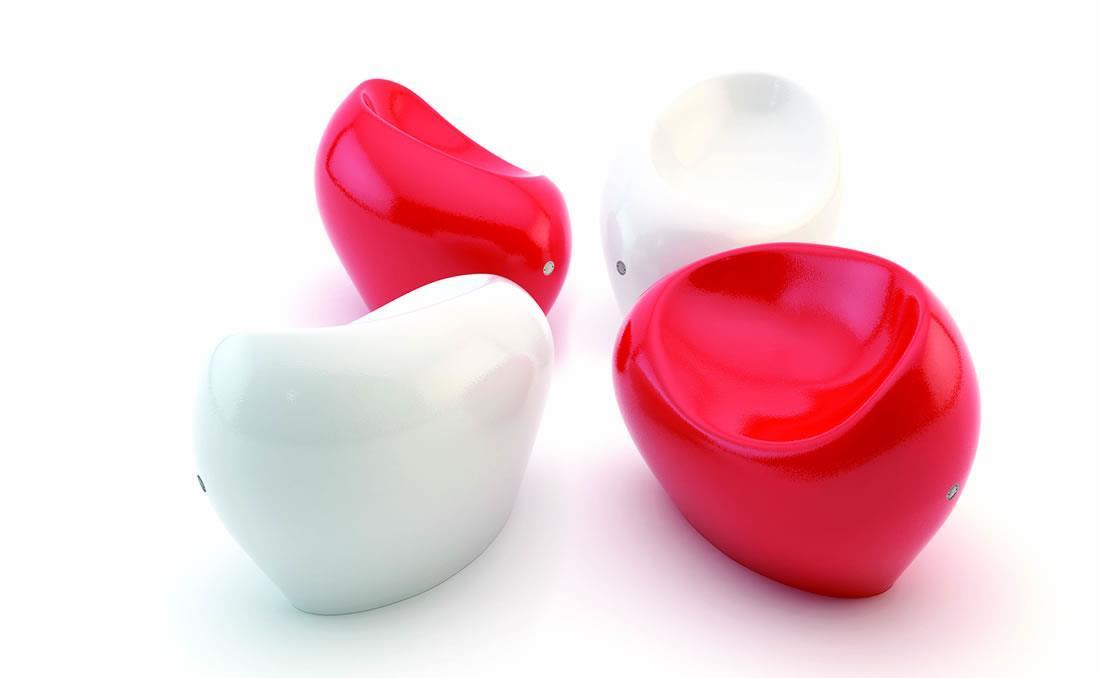 Banco Happy de hormigón diseño orgánico blanco y rojo