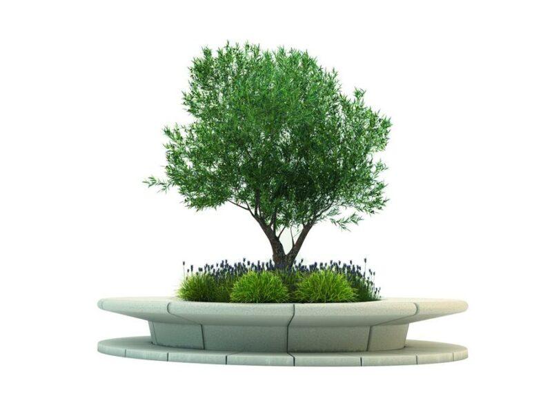 Jardinera banco de hormigon prefabricado Corola color blanco