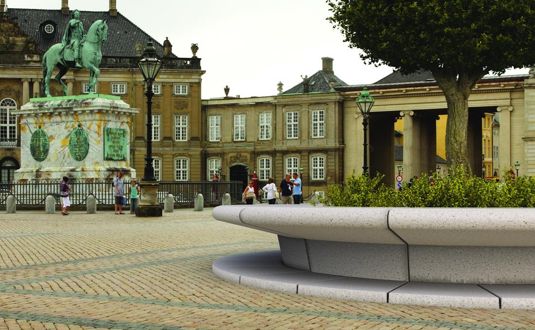 Detalle de gran jardinera banco Corolla en Copenaghen Dinamarca