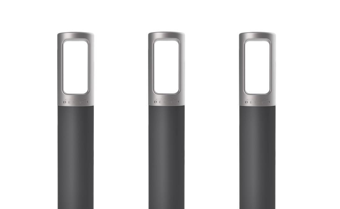 Bolardo de hierro metálico de acero negro y gris