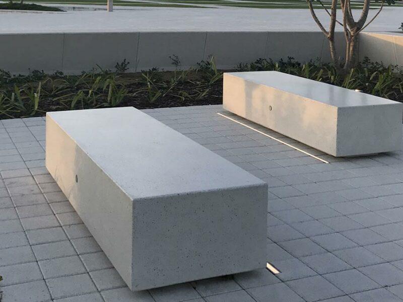 Kubb banco de hormigón prefabricado en forma rectangular