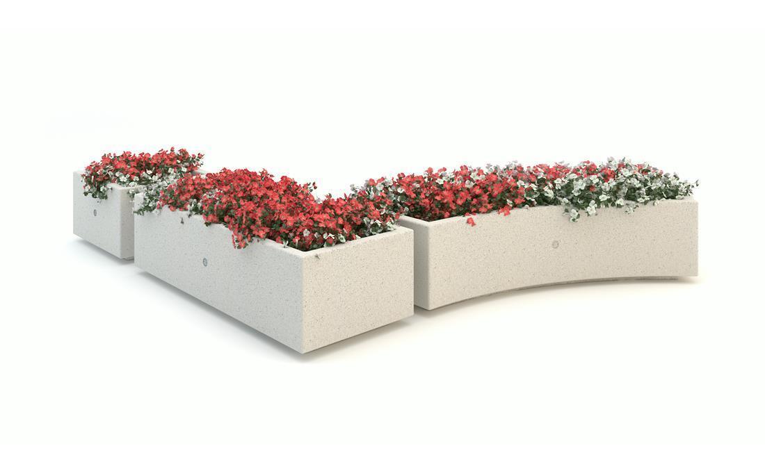 Kubb jardinera hormigon prefabricado recta y curva. Blanca
