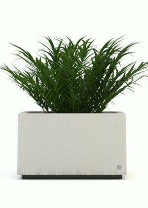 Kubb jardinera hormigon prefabricado recta. Blanca arenada