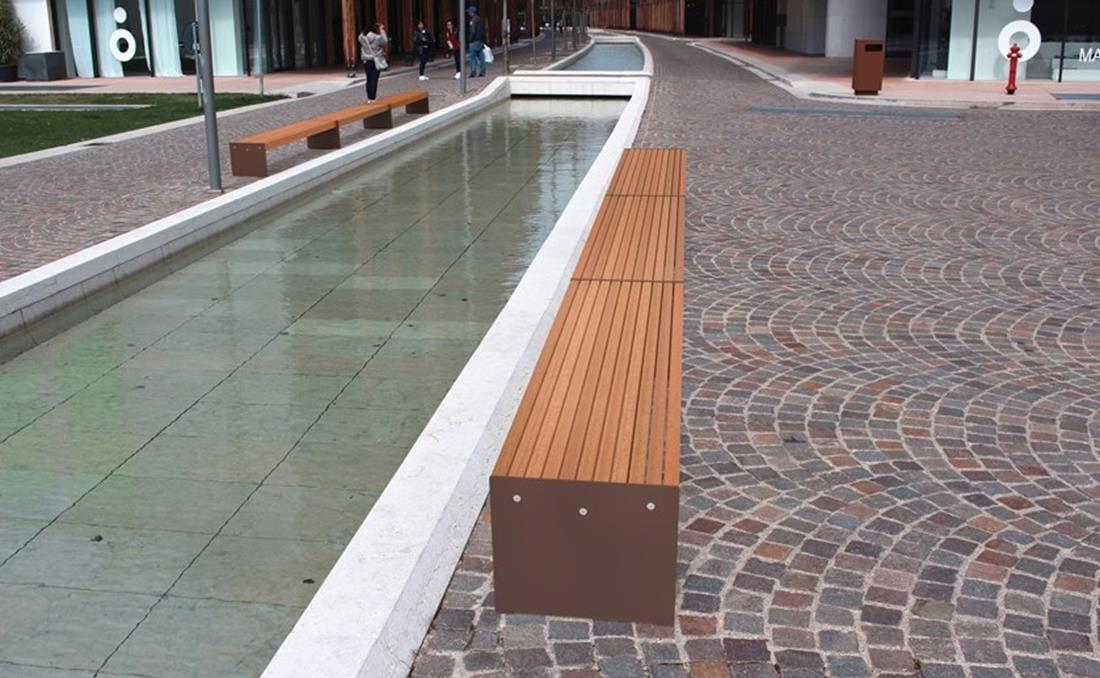 Lena banco acero metalico y madera exterior mobiliario urbano YTER