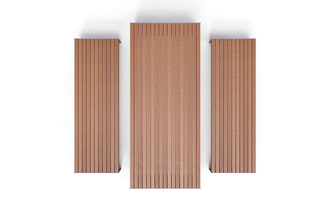 Masa de madera de listones y estructura de acero