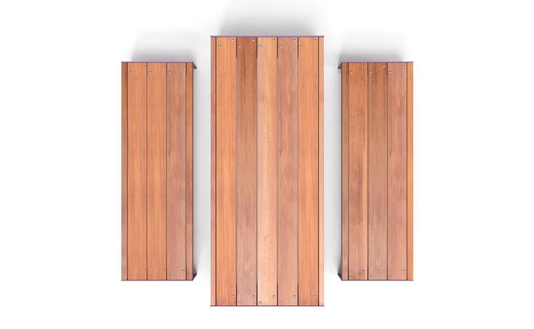 Mesa de madera de listones anchos