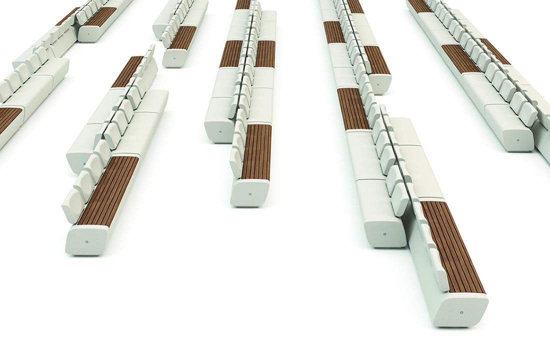 Banco de hormigón y madera con respaldo y apoyabrazos combinaciones