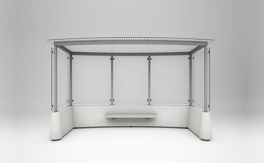 Marquesina autobus vidrio y hormigón 3 módulos