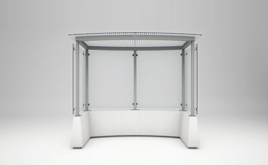 Marquesina autobus vidrio y hormigón 2 módulos