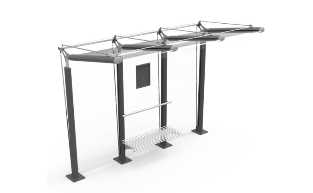 Marquesina bus Ycaro acero y cristal 3D perspectiva