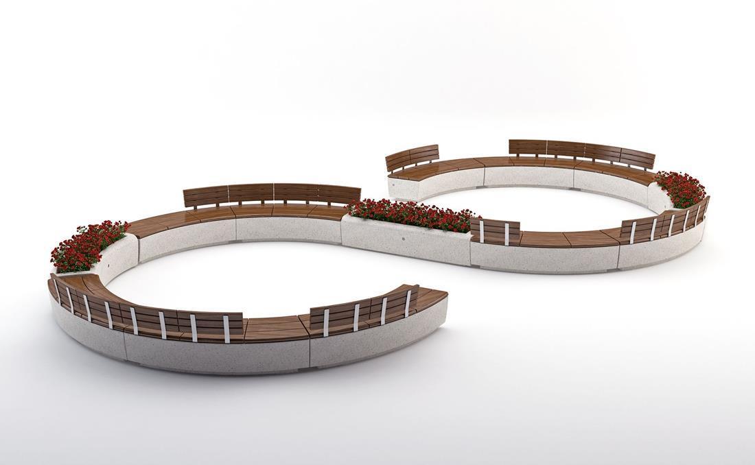 Banco Onda en 3D simulación con respaldo
