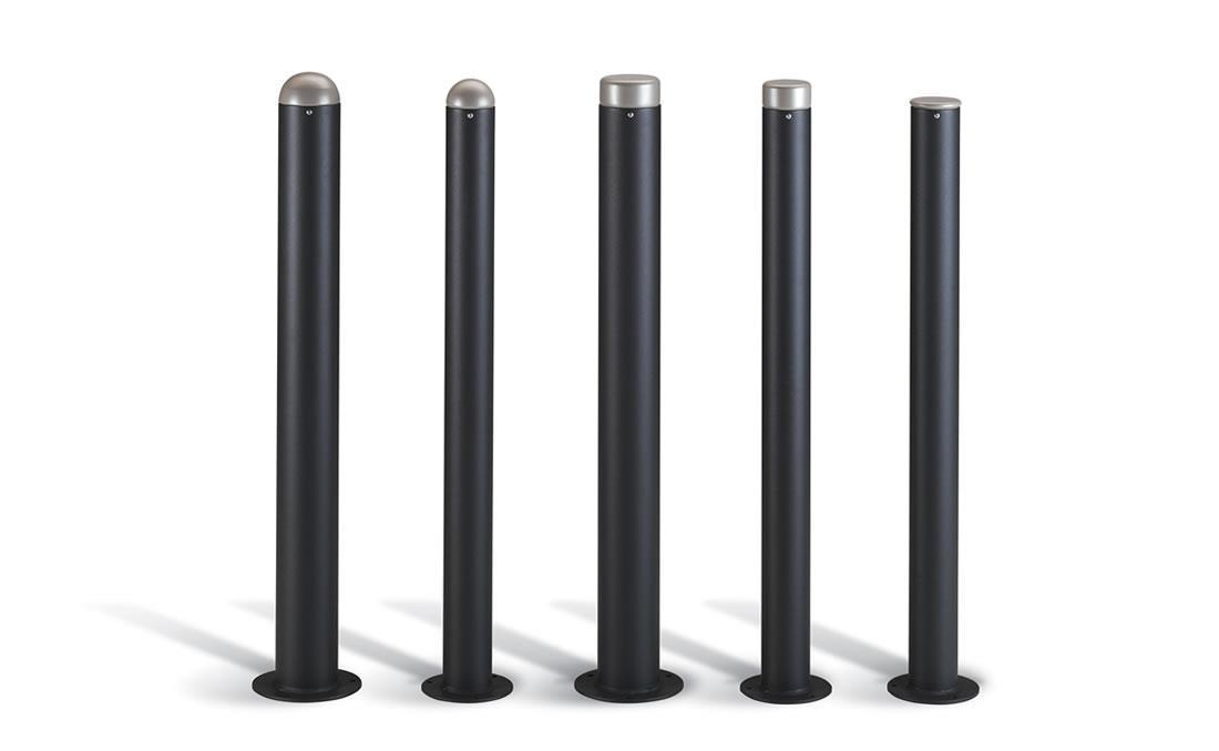 Palette bolardo pilona bicolor gris y negro