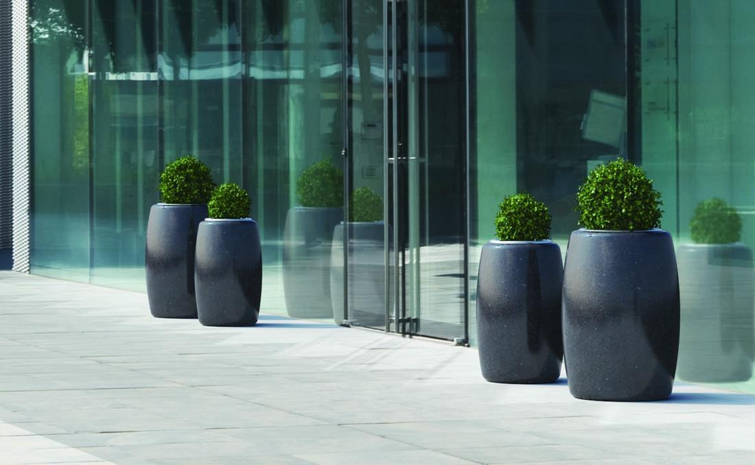 Pegaso Orione jardineras urbanas exterior de hormigón negras