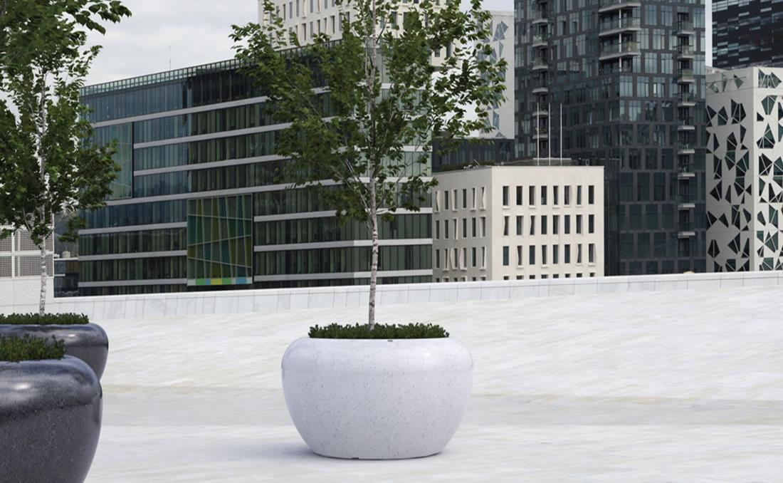 Colección de jardineras urbanas de hormigón Planets blanca