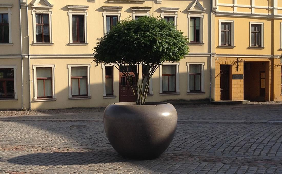 Colección de jardineras urbanas de hormigón Planets gris