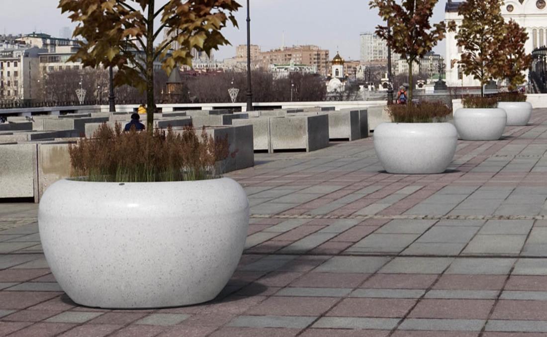 Colección de jardineras urbanas de hormigón Planets blanca arenada