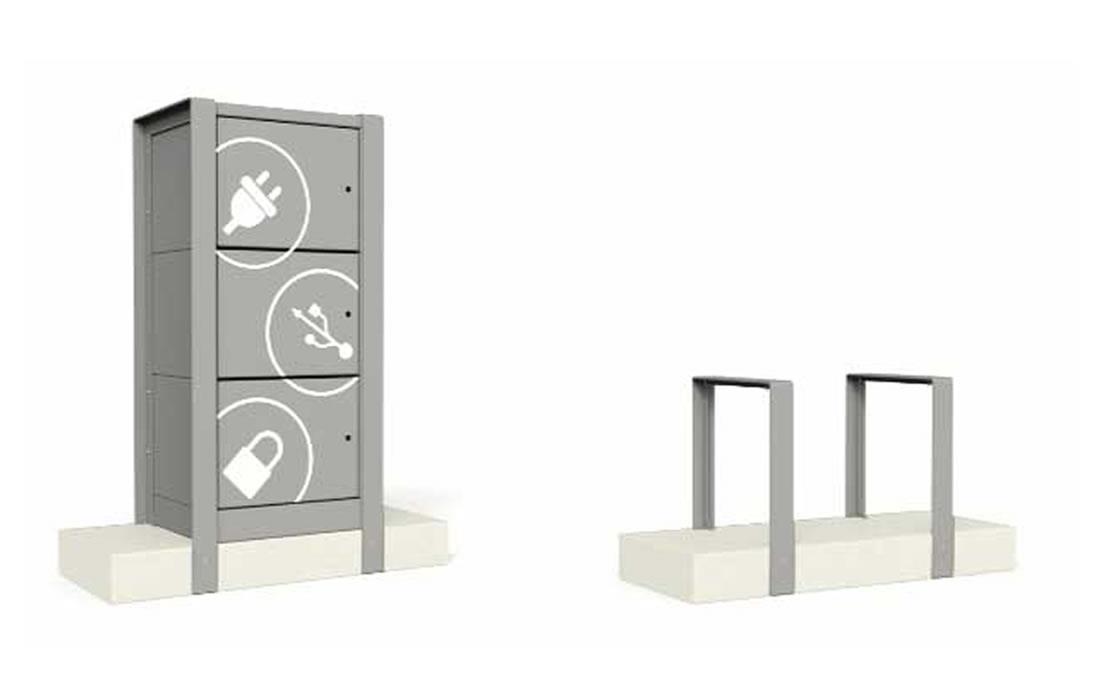 Aparcabicis de acero y hormigón prefabricado