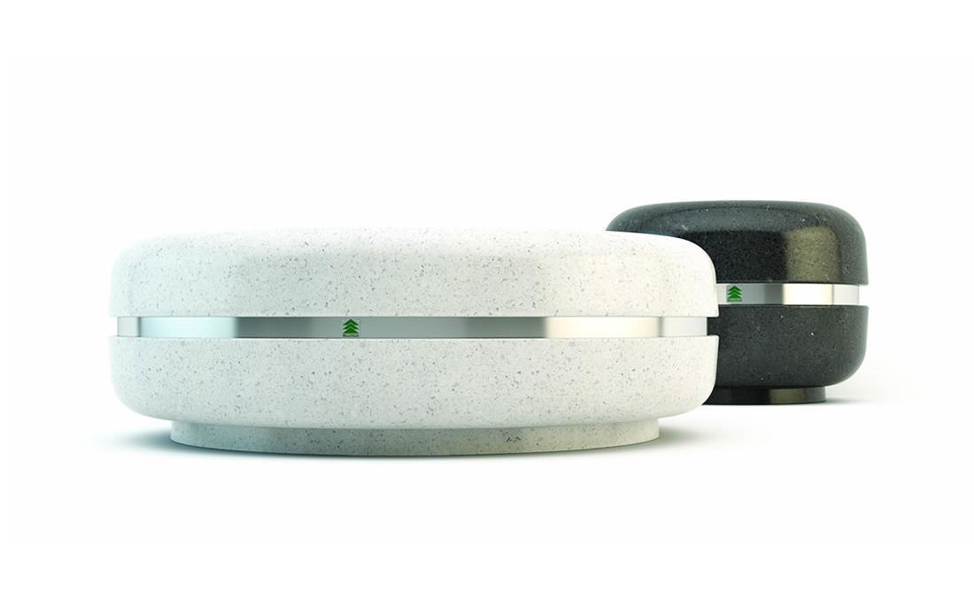 Jardinera hormigón cilindrica redonda circular prefabricada blanca y negra