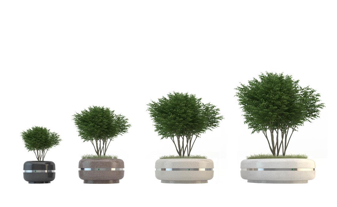 Conjunto jardineras circulares de hormigón