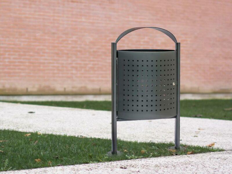 Eliseo papelera mobiliario urbano alta calidad color gris