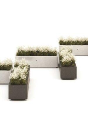 Jardinera Demetra de hormigón rectangular.