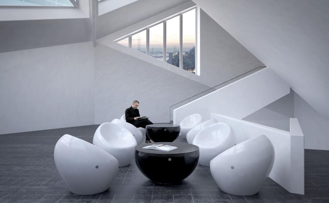 Mesa en hormigón con forma semiesférica combinación.